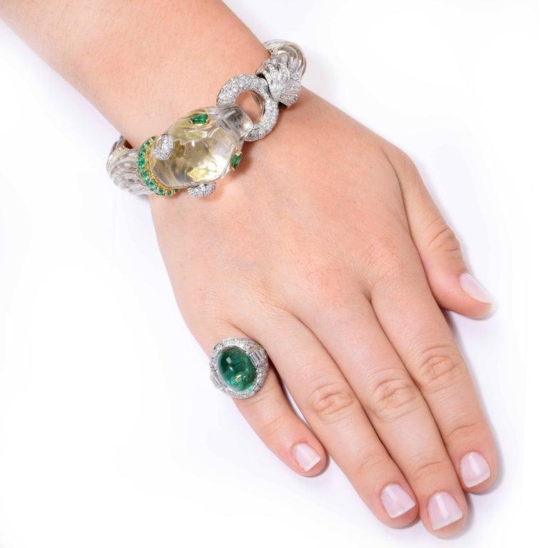 Art Deco 14.75 Carat Sugarloaf Cabochon Cut Colombian Emerald Diamond Ring 2