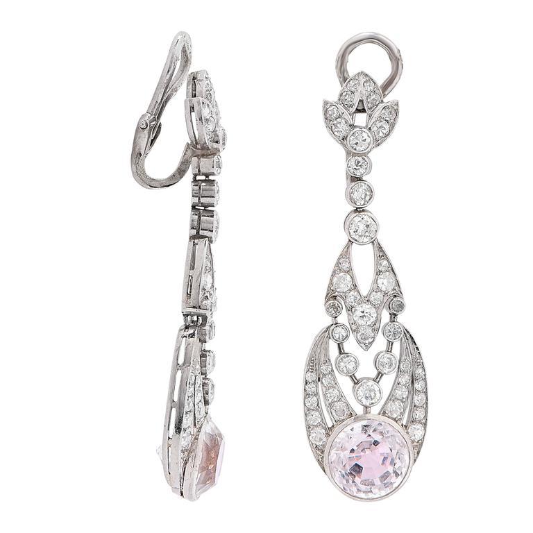Women's 1900s Rose Quartz Diamond Platinum Ear Clips For Sale