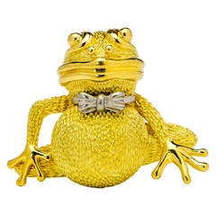 Henry Dunay Whimsical Gold Platinum Frog Pin