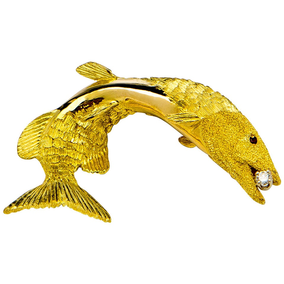 Tiffany & Co. Diamond Gold Fish Brooch
