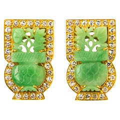 Elegant Carved Jade Diamond Gold Earrings