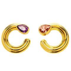 Bulgari Tourmaline Amethyst Gold Earrings