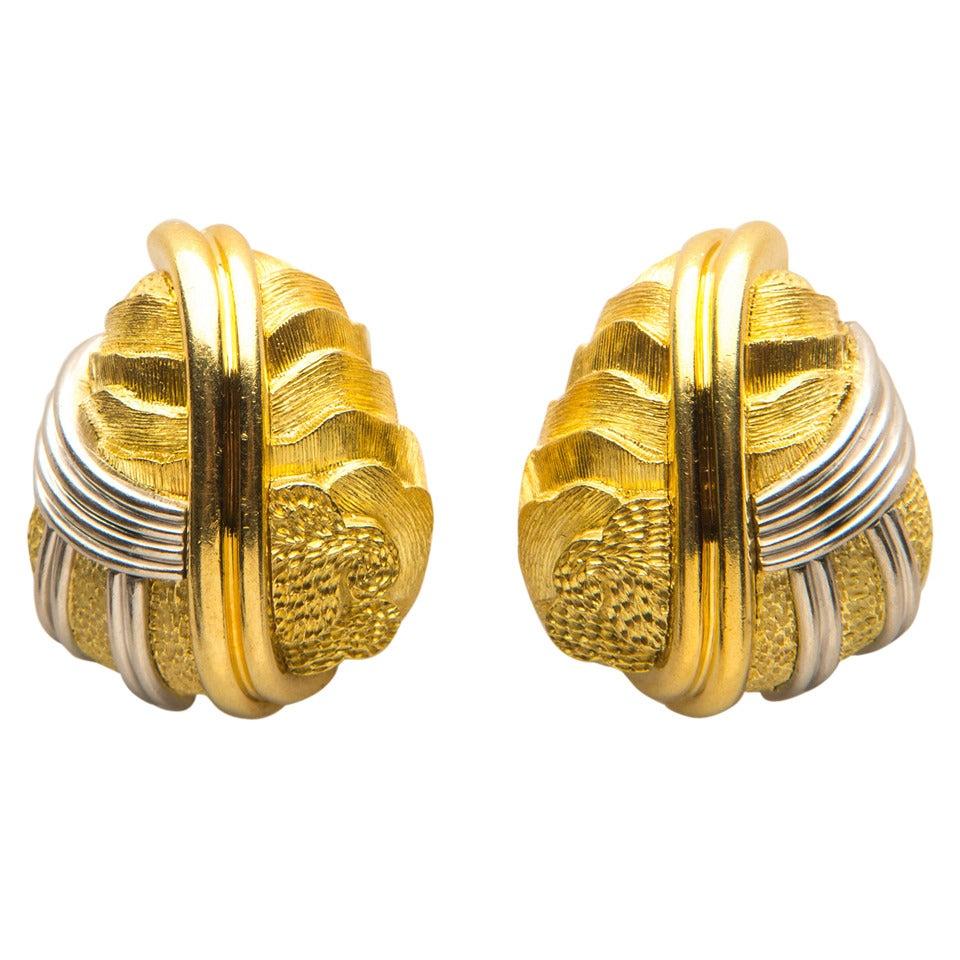 Henry Dunay Cinnabar Gold Platinum Earrings