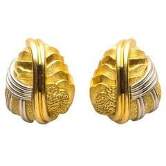 Henry Dunay Cinnabar Gold Platinum Earrings