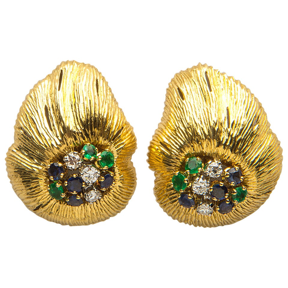 Oscar Heyman Sapphire Emerald Diamond Gold Earrings