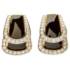 Andrew Clunn Enamel Diamond Gold Earrings