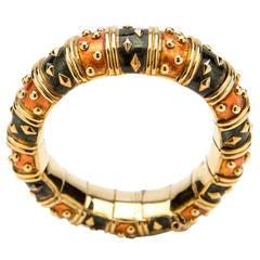 Tiffany & Co. Schlumberger Enamel Gold Bracelet