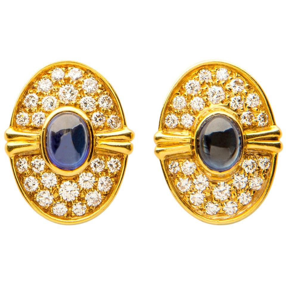 Harry Winston Cabochon Sapphire Diamond Gold Earrings For Sale