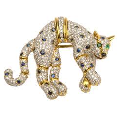 Elegant Sapphire Emerald Diamond Gold Panther Brooch