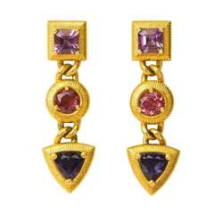 Paul Morelli Amethyst Tourmaline Tanzanite Gold Drop Earrings