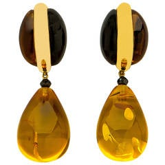 Elegant Black Onyx Amber Citrine Diamond Gold Drop Earrings
