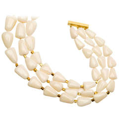 Exceptional Gem Quality White Coral Gold Necklace