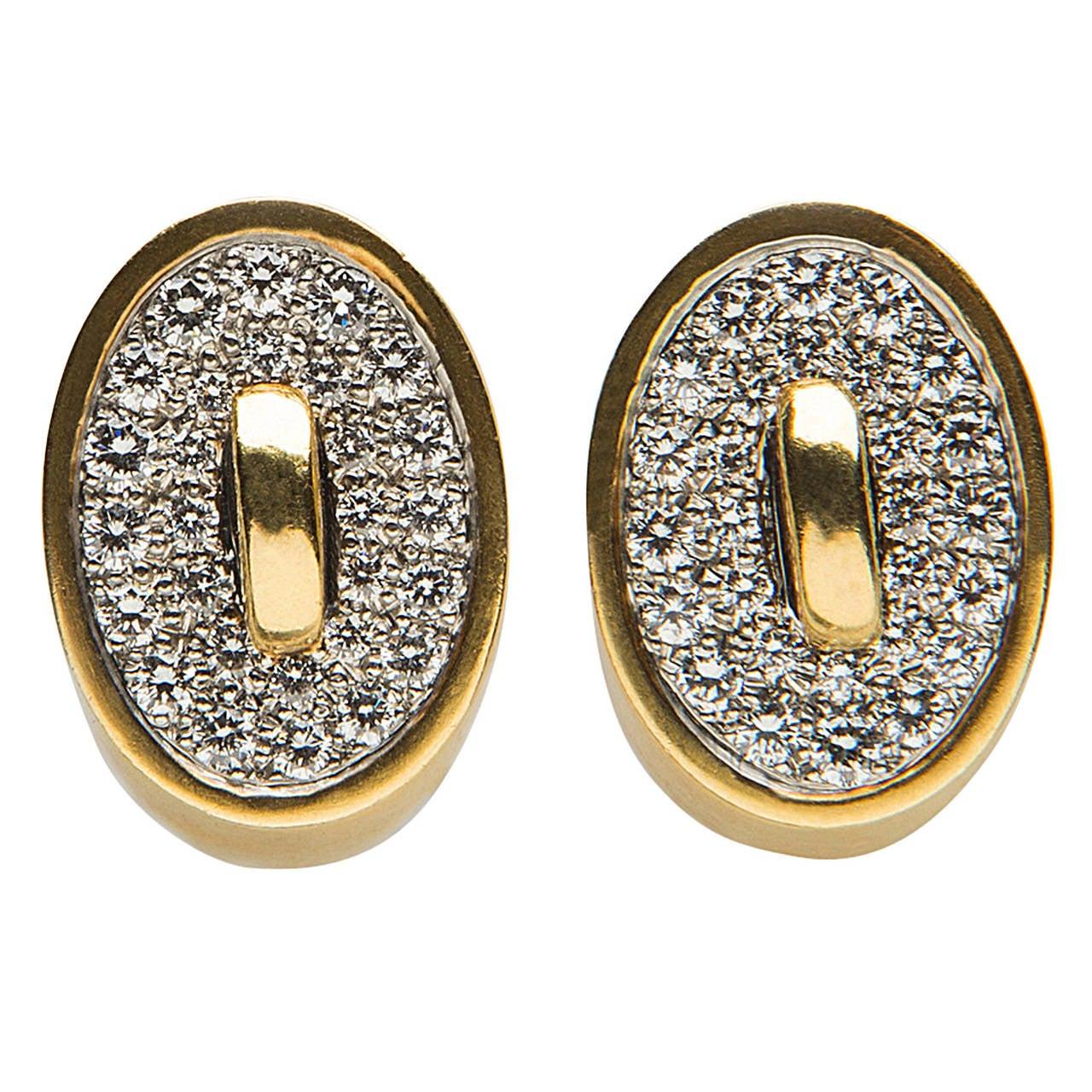 Angela Cummings Diamond Gold Earrings