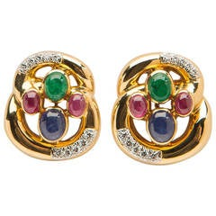 David Webb Emerald Ruby Sapphire Diamond Gold Earrings