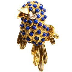 Charming Lapis Diamond Gold Bird Brooch