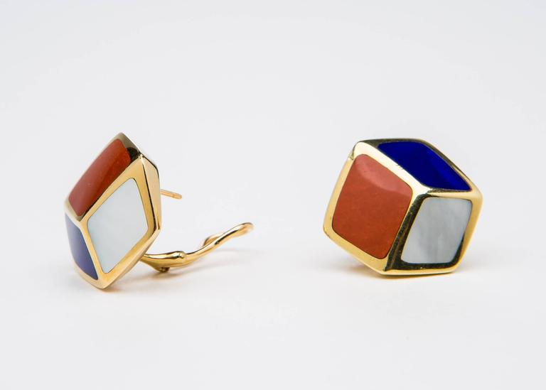 Contemporary Tiffany & Co. Lapis Carnelian Mother-of-Pearl Gold Geometric Earrings For Sale
