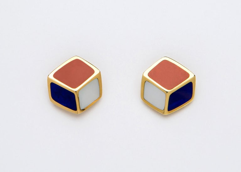 Tiffany & Co. Lapis Carnelian Mother-of-Pearl Gold Geometric Earrings In Excellent Condition For Sale In Atlanta, GA