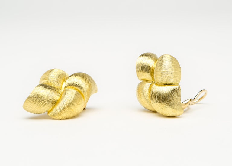 Contemporary Henry Dunay Gold Sabi Finish Quilted Earrings For Sale