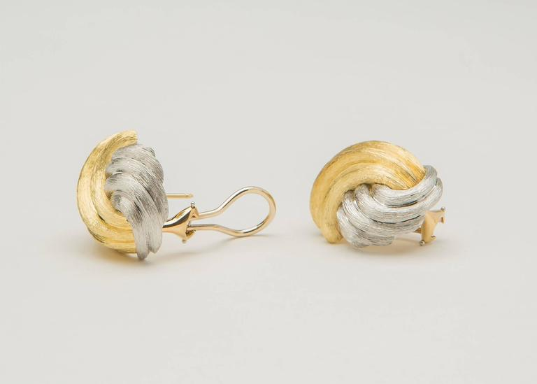 Henry Dunay Sabi Finish Gold and Platinum Earrings 2