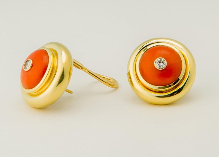 Contemporary Tiffany & Co. Paloma Picasso Coral Diamond Gold Earrings For Sale