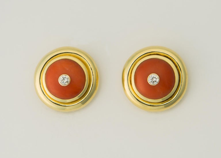 Tiffany & Co. Paloma Picasso Coral Diamond Gold Earrings In Excellent Condition For Sale In Atlanta, GA
