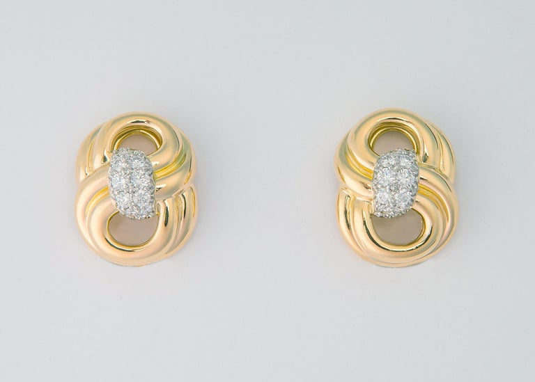Contemporary Classic Verdura Gold and Diamond Earrings For Sale