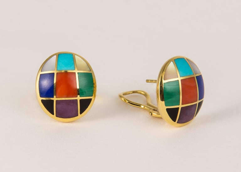 Contemporary Asch Grossbardt Colored Stone Earrings For Sale