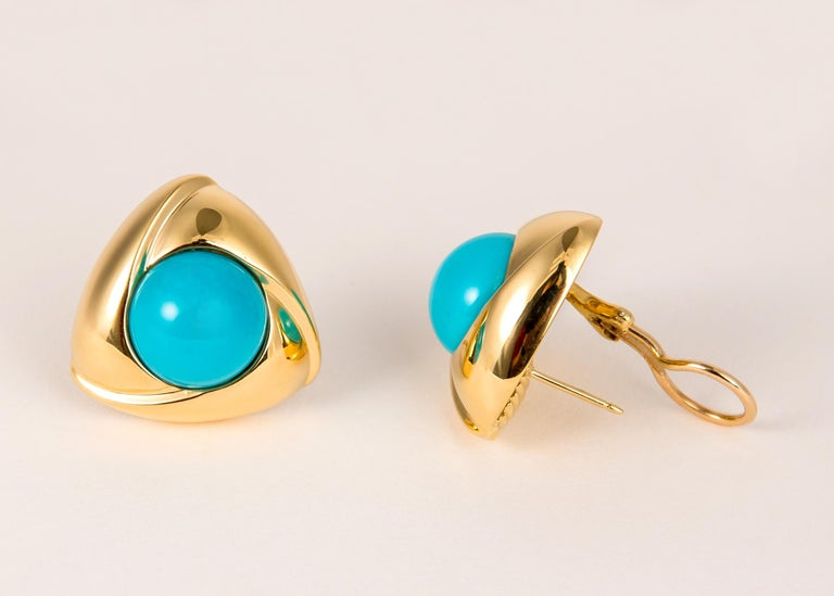Contemporary Gump's Bold Turquoise and Gold Earrings For Sale