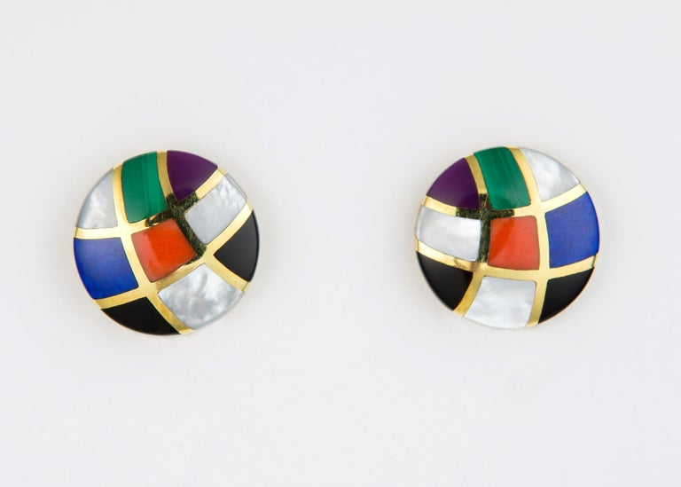 Contemporary Asch Grossbardt Inlaid Colored Stone Earrings For Sale