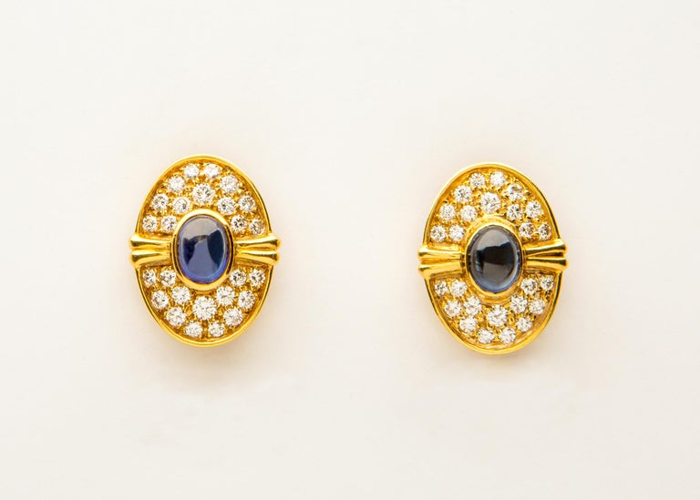Contemporary Harry Winston Cabochon Sapphire Diamond Gold Earrings For Sale