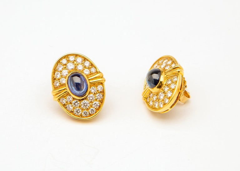 Harry Winston Cabochon Sapphire Diamond Gold Earrings In Excellent Condition For Sale In Atlanta, GA