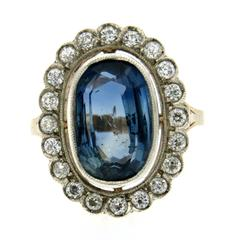 8.79 Carat GIA Certified Sapphire No Heat Diamond Gold Cluster Ring