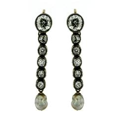 Diamond Pearl Gold Drop Earrings