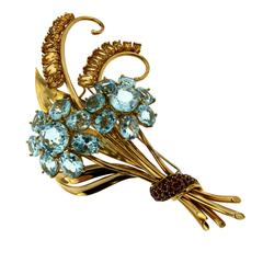 Topaz Citrine Ruby Gold Flower Brooch