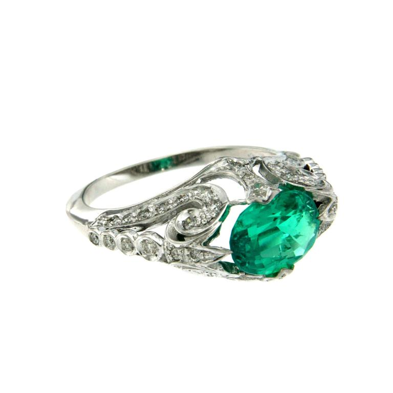 synthetic emerald gold ring for sale at 1stdibs