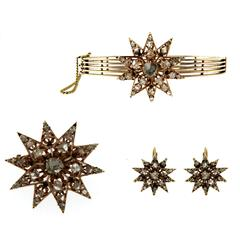 Victorian Gold Bracelet Brooch and Earrings Suite