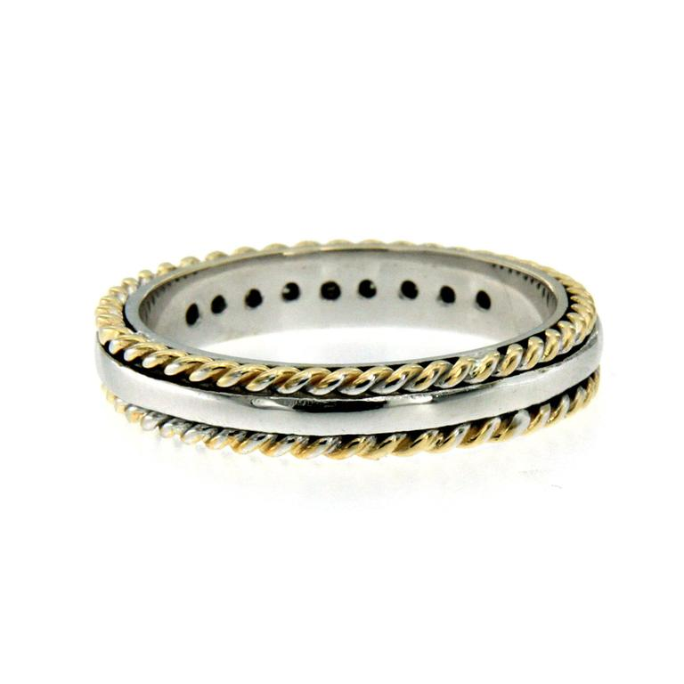Rope Design Bands: Rope Design Diamond Gold Band Ring For Sale At 1stdibs