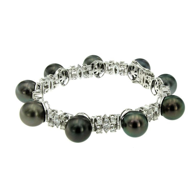 Black Pearl Diamond Gold Bracelet