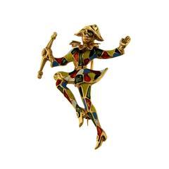 Gold Enamel Harlequin Brooch