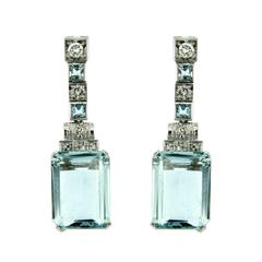 18.14 Carat Aquamarine Diamond Earrings