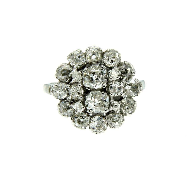 3 Carat Diamond Gold Cluster Ring