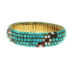 1970s Turquoise Sapphire Ruby Diamond Gold Bracelet