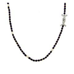 Guilloche Enamel Diamond Gold Necklace