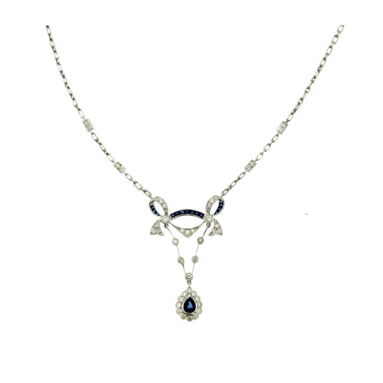 Sapphire Diamond Cluster Pendant