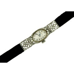 Zenith Ladies Platinum Diamond Art Deco Wristwatch