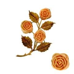 Rose Shape Coral Gold Ring Brooch Set