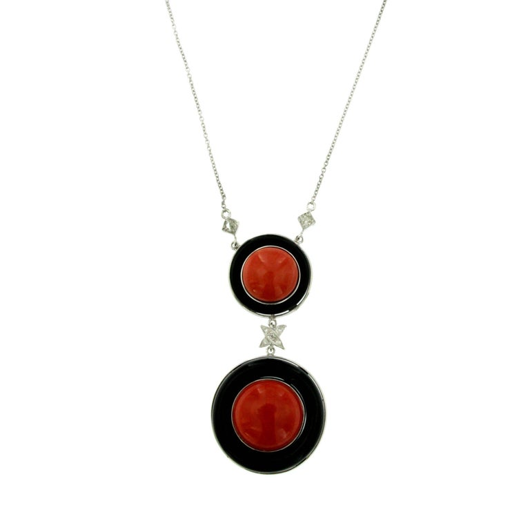 Coral Onyx Diamond Drop Gold Pendant Necklace