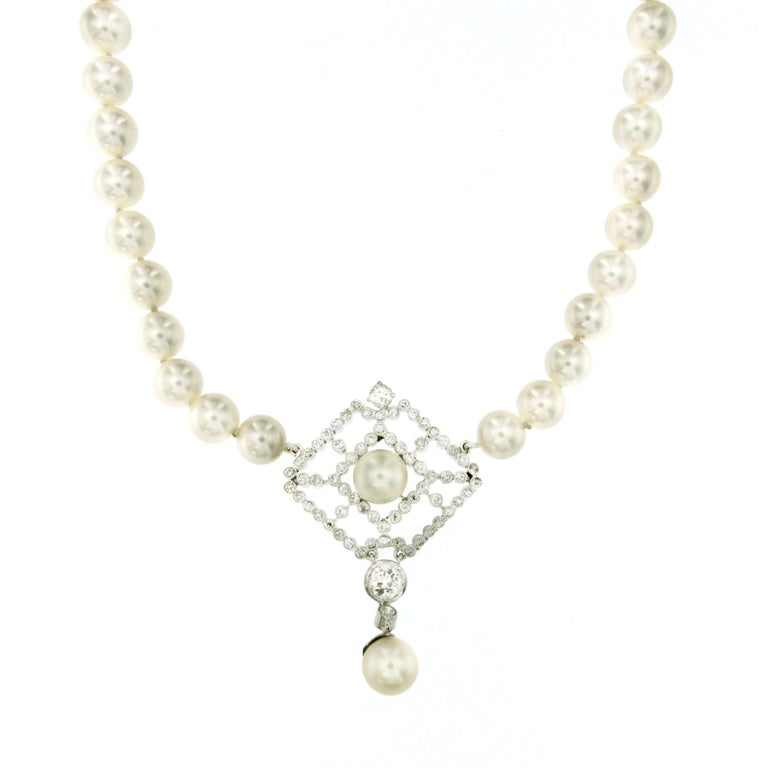 Japanese Pearl Diamond Gold Necklace