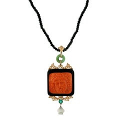 Hand-Carved Mediterranean Coral Onyx Diamond Gold Pendant