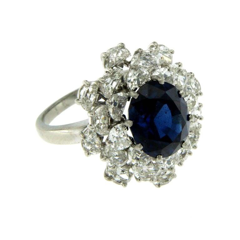 Women's 3.40 Carat Sapphire Diamond Platinum Ring For Sale